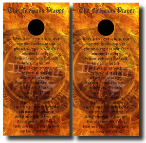 FIREMANS PRAYER ON FLAMES cornhole board wraps - SET OF 2 - BG Boards and Graphics LLC
