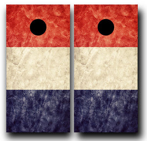 FRANCE GRUNGE FLAG 24x48 cornhole board wraps - SET OF 2 - BG Boards and Graphics LLC