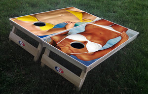 GIRLS ON THE BEACH 3/4 hardwood tournament grade cornhole set with matching bags - BG Boards and Graphics LLC  - 1