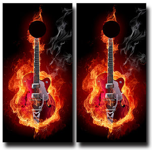 GUITAR ON FIRE 24x48 cornhole board wraps - SET OF 2 - BG Boards and Graphics LLC
