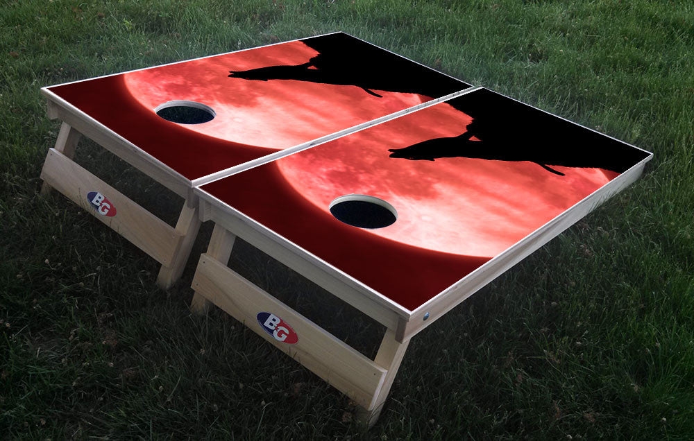 HOWL AT THE MOON 3/4 hardwood tournament grade cornhole set with matching bags - BG Boards and Graphics LLC  - 1