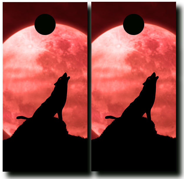 HOWL AT THE MOON 3/4 hardwood tournament grade cornhole set with matching bags - BG Boards and Graphics LLC  - 2