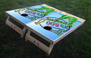 IT'S 5 O'CLOCK SOMEWHERE 3/4 hardwood tournament grade cornhole set with matching bags - BG Boards and Graphics LLC  - 1