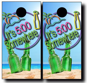 5 O'CLOCK SOMEWHERE BOTTLES cornhole board wraps - SET OF 2 - BG Boards and Graphics LLC