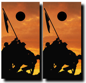 IWO JIMA SUNSET 24x48 cornhole board wraps - SET OF 2 - BG Boards and Graphics LLC