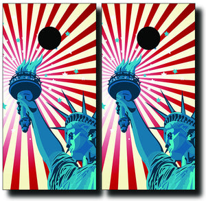 ABSTRACT LIBERTY DESIGN 24x48 cornhole board wraps - SET OF 2 - BG Boards and Graphics LLC