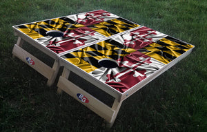 MARYLAND SILKY WAVING FLAG 3/4 hardwood tournament grade cornhole set with matching bags - BG Boards and Graphics LLC  - 1