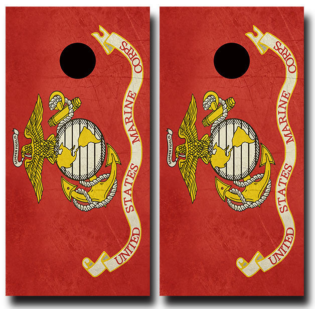 USMC GRUNGE FLAG 3/4 hardwood tournament grade cornhole set with matching bags - BG Boards and Graphics LLC  - 2