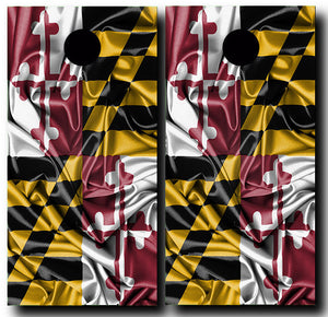 SILKY MARYLAND FLAG 24x48 cornhole board wraps - SET OF 2 - BG Boards and Graphics LLC