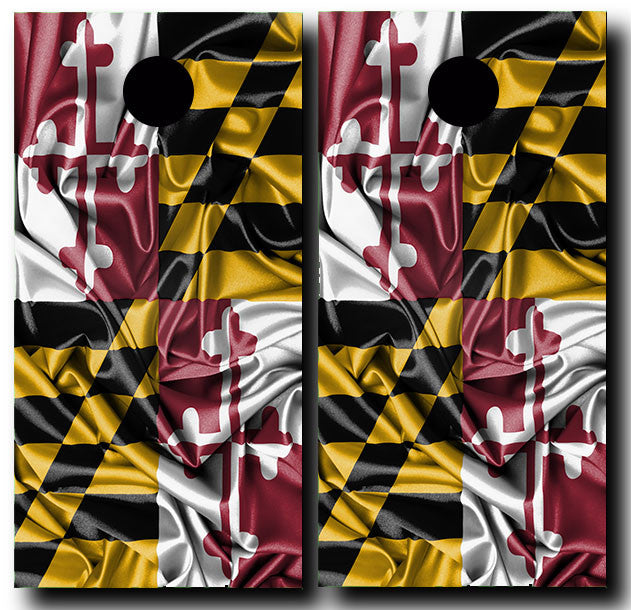 MARYLAND SILKY WAVING FLAG 3/4 hardwood tournament grade cornhole set with matching bags - BG Boards and Graphics LLC  - 2