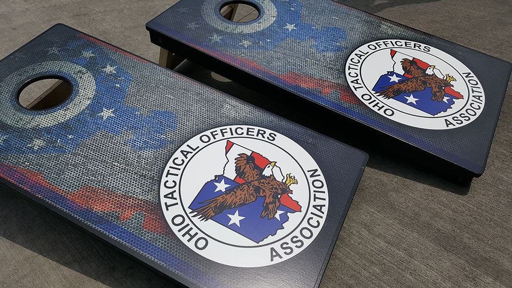 OHIO TACTICAL OFFICERS ASSOCIATION 3/4 hardwood tournament grade cornhole set with matching bags - BG Boards and Graphics LLC  - 3