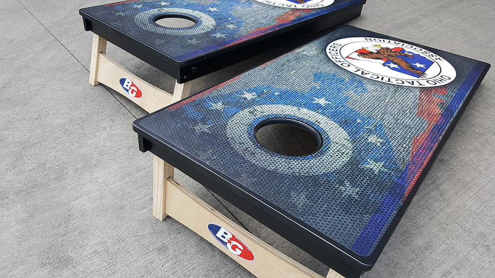 OHIO TACTICAL OFFICERS ASSOCIATION 3/4 hardwood tournament grade cornhole set with matching bags - BG Boards and Graphics LLC  - 5
