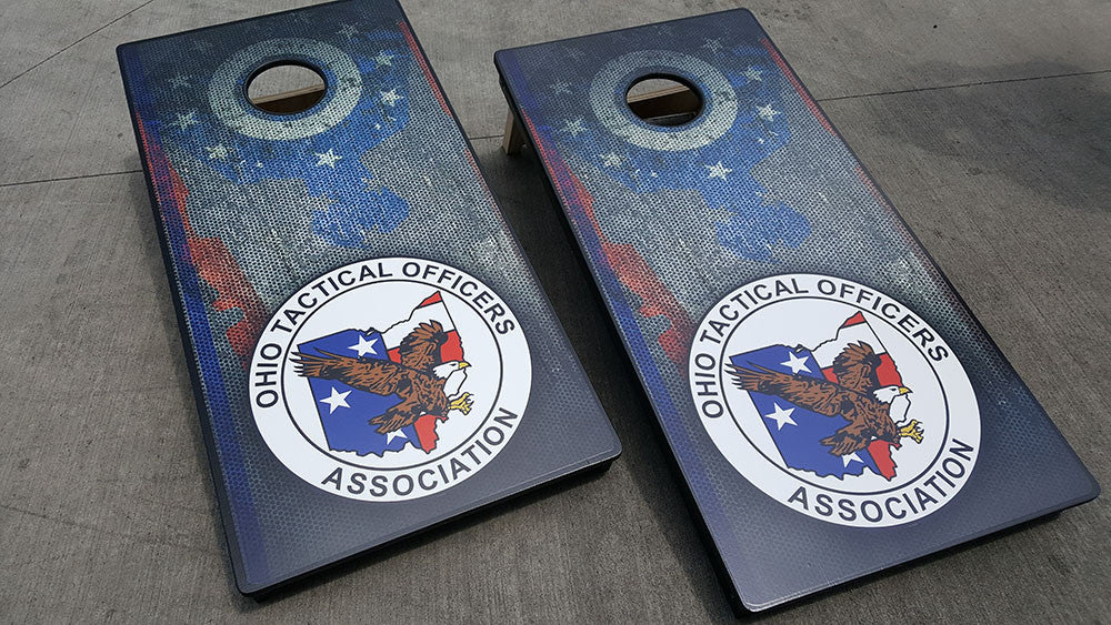 OHIO TACTICAL OFFICERS ASSOCIATION 3/4 hardwood tournament grade cornhole set with matching bags - BG Boards and Graphics LLC  - 1
