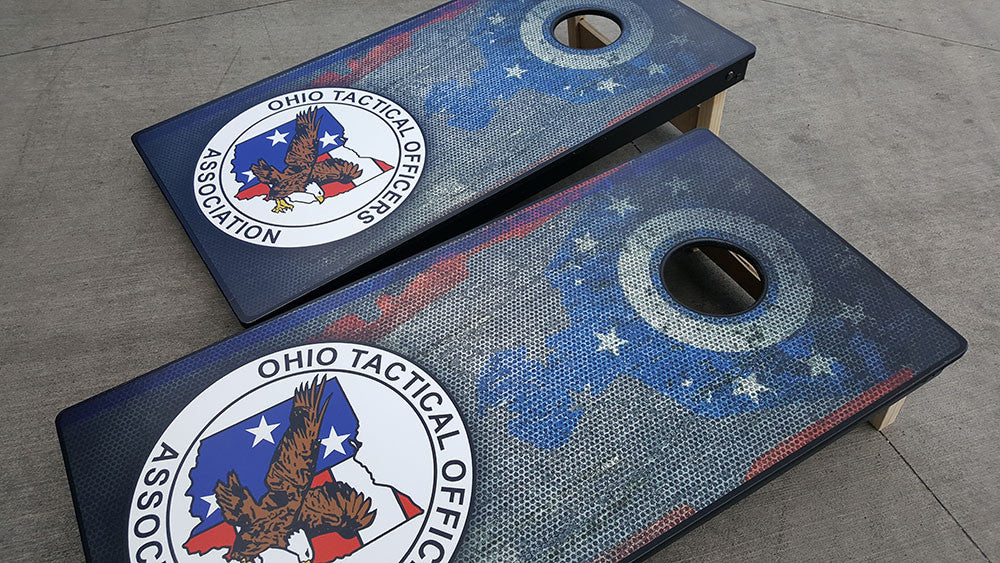 OHIO TACTICAL OFFICERS ASSOCIATION 3/4 hardwood tournament grade cornhole set with matching bags - BG Boards and Graphics LLC  - 2
