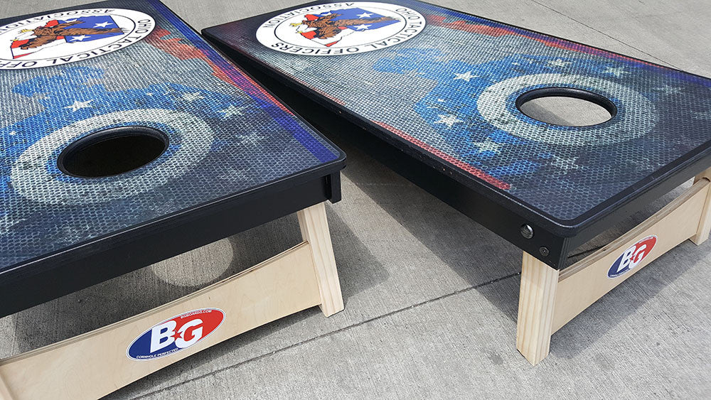 OHIO TACTICAL OFFICERS ASSOCIATION 3/4 hardwood tournament grade cornhole set with matching bags - BG Boards and Graphics LLC  - 4