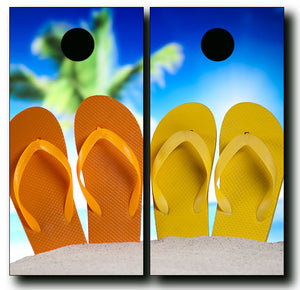 FLIP FLOPS ON THE BEACH cornhole board wraps - SET OF 2 - BG Boards and Graphics LLC