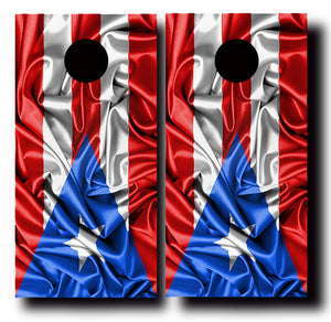 SILKY PUERTO RICO FLAG 24x48 cornhole board wraps - SET OF 2 - BG Boards and Graphics LLC