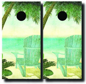 VINTAGE SEASIDE CHAIRS cornhole board wraps - SET OF 2 - BG Boards and Graphics LLC