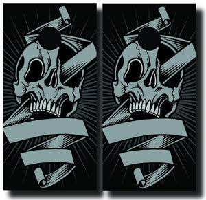 SKULL AND RIBBON 24x48 cornhole board wraps - SET OF 2 - BG Boards and Graphics LLC