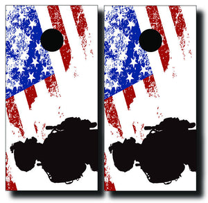 SOLDIER ON US FLAG 24x48 cornhole board wraps - SET OF 2 - BG Boards and Graphics LLC