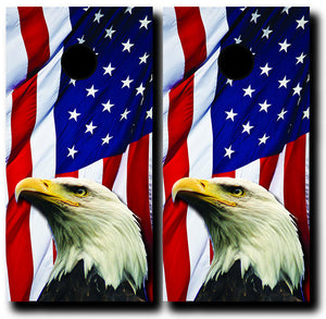 EAGLE ON US FLAG 24x48 cornhole board wraps - SET OF 2 - BG Boards and Graphics LLC