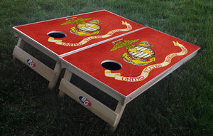 USMC GRUNGE FLAG 3/4 hardwood tournament grade cornhole set with matching bags - BG Boards and Graphics LLC  - 1