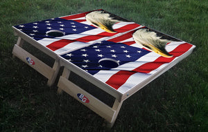 EAGLE AND FLAG 3/4 hardwood tournament grade cornhole set with matching bags - BG Boards and Graphics LLC  - 1