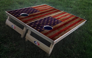 WEATHERED WOODEN AMERICAN FLAG 3/4 hardwood tournament grade cornhole set with matching bags - BG Boards and Graphics LLC  - 1