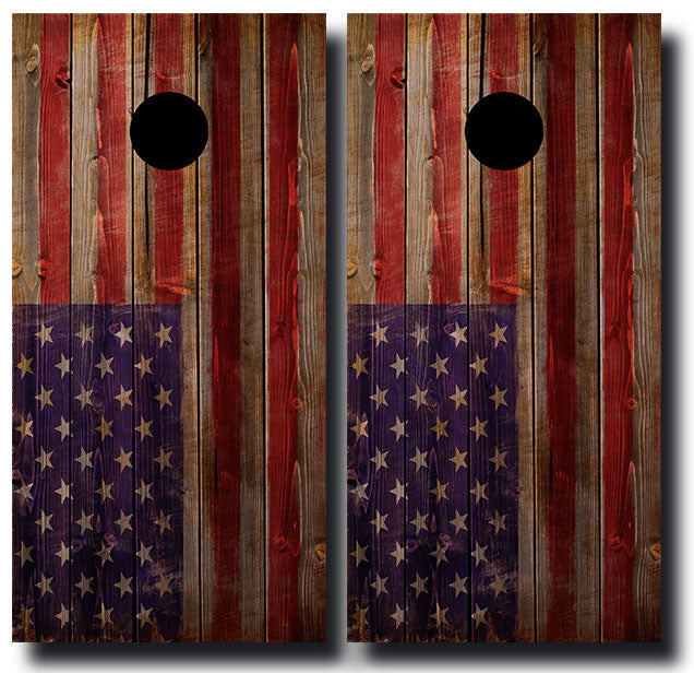 WEATHERED WOODEN AMERICAN FLAG 3/4 hardwood tournament grade cornhole set with matching bags - BG Boards and Graphics LLC  - 2