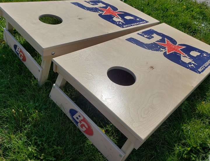 PINNACLE PRO #GOBGORGOHOME maple hardwood tournament cornhole boards - BOARDS/BAGS COMBO