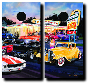 CLASSIC CAR CRUISE IN cornhole board wraps - SET OF 2 - BG Boards and Graphics LLC