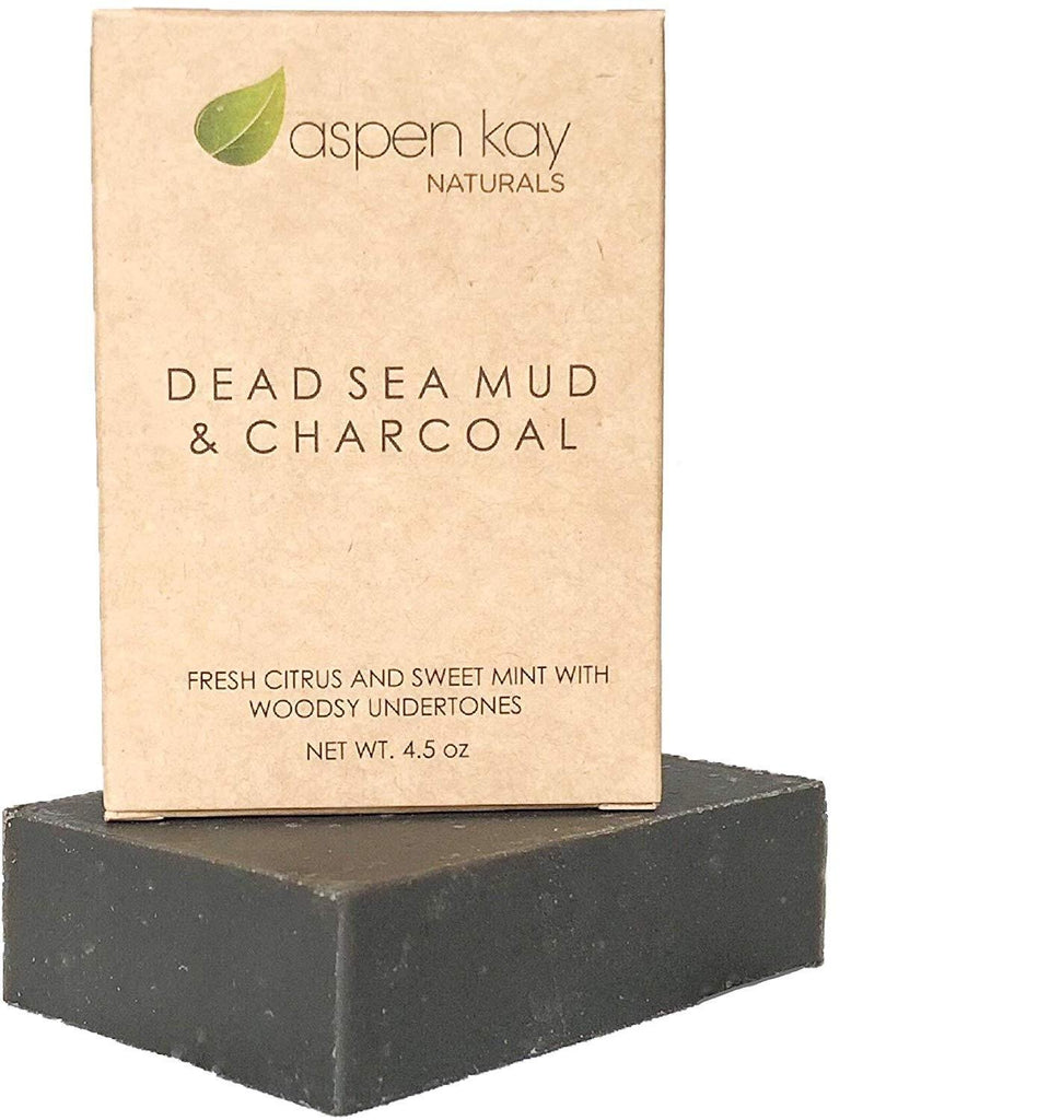 Aspen Kay Naturals Dead Sea Mud Soap Bar 100% Organic & Natural with Activated Charcoal and Essential Oils - Facentials