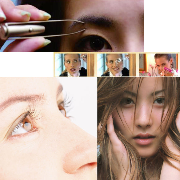Stainless Steel Eyebrow Hair Removal Tweezer + LED Light