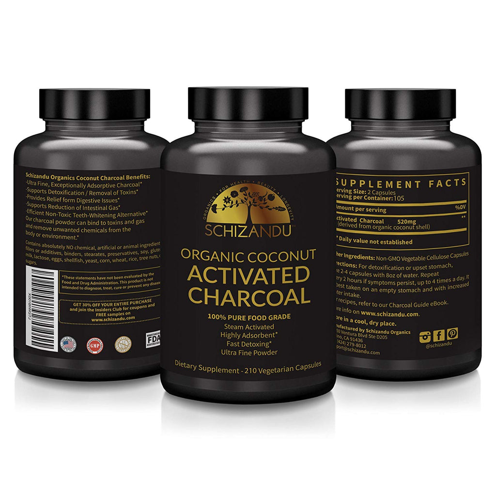 Schizandu Organics Activated Charcoal Supplement - Facentials