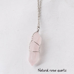 Natural Quartz Pendant with Silver Wire