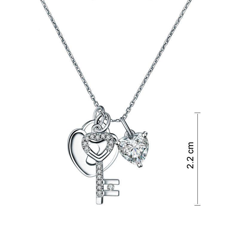 Heart Lock & Key 925 Sterling Silver Pendant Necklace