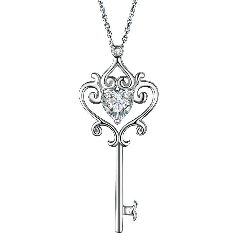 Cursive Diamond Key Necklace