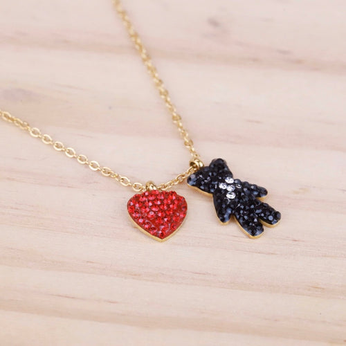 Bear Love Heart Necklace