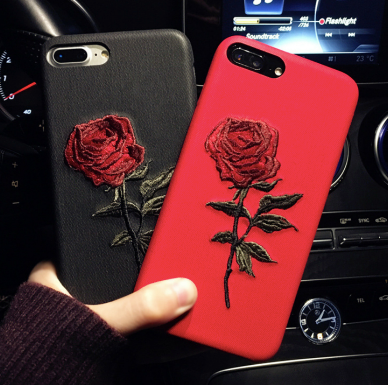 buy popular 03111 6e5b4 Embroidery Rose iPhone Case