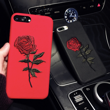 buy popular 52341 12936 Embroidery Rose iPhone Case