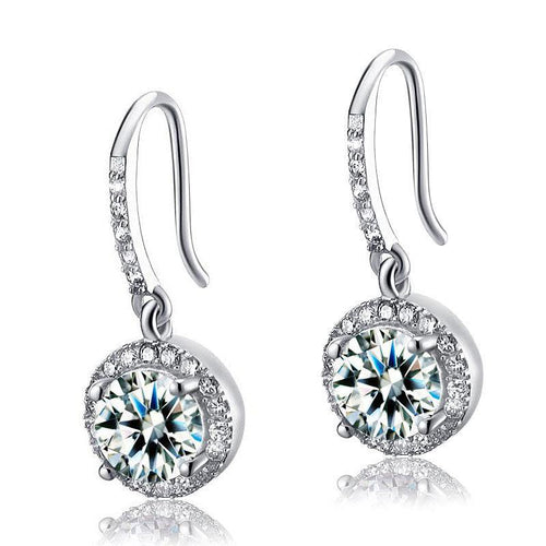 Diamond Topaz Dangle Earrings