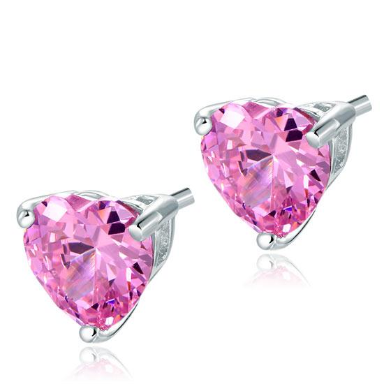 Pink Heart Diamond Earrings