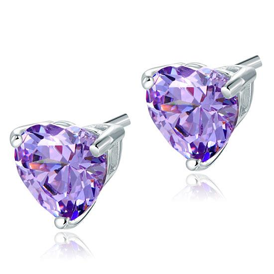 Purple Heart Diamond Earrings