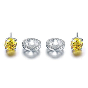 Fancy Yellow Halo Earrings