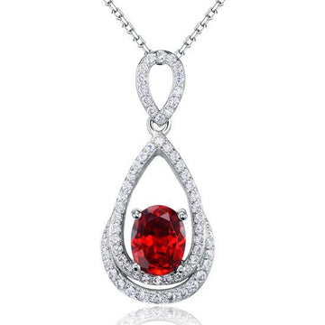 Ruby Silver Pendant Necklace