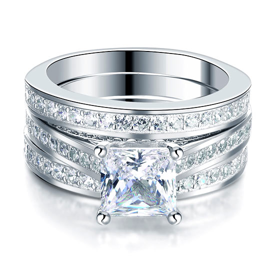 Triple Silver Diamond  Ring