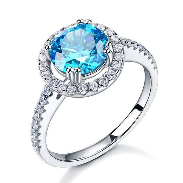 Blue Elegance Halo Ring