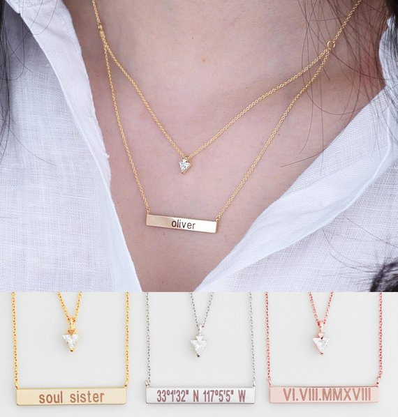 Engraved Bar Necklace
