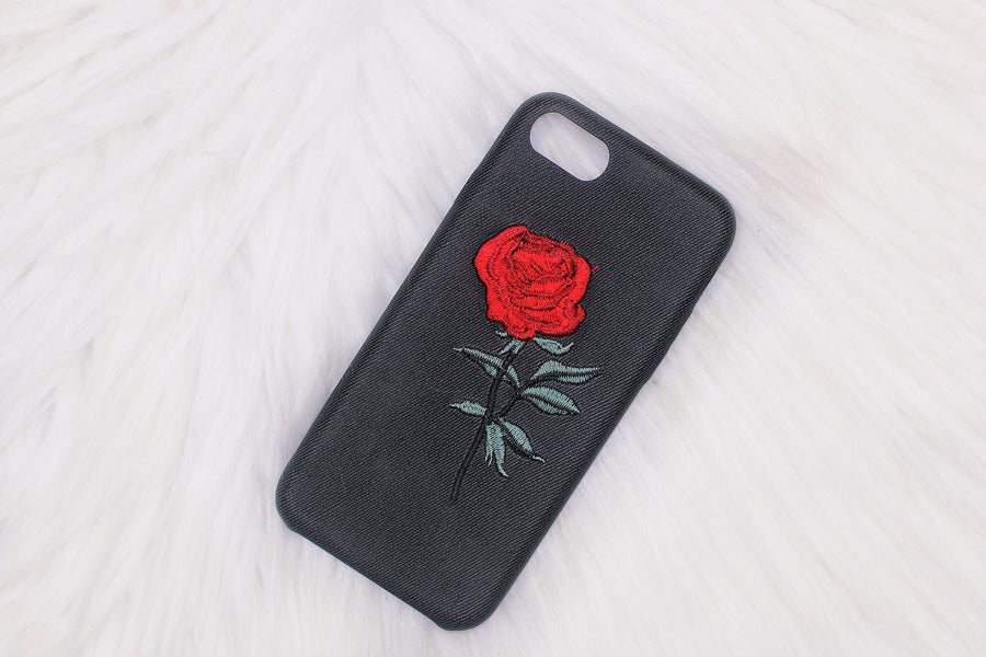 buy popular 88f87 53868 Embroidery Rose iPhone Case