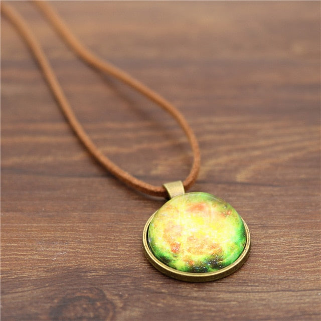 Cosmic Sky Leather Rope Pendant